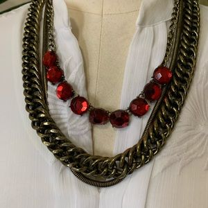 Statement necklace, brass and ruby red rhinestones